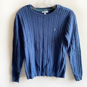 IZOD sweater blue cable knit crew neck